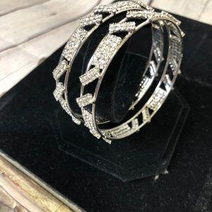 Silver Tone Rhinestone Bangle Bracelets Set of 2